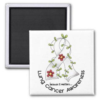 肺癌の認識度の花のリボン1 マグネット