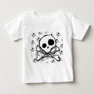 背景幕が付いているスカルNの骨 ベビーTシャツ