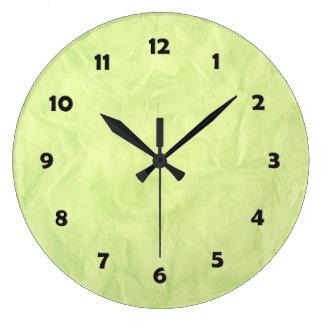背景文書の質-緑 ラージ壁時計