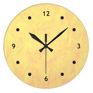 背景文書の質-黄色 ラージ壁時計