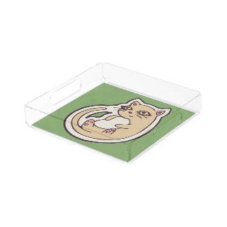 背部かわいく白い腹スケッチのデザインの猫 アクリルトレー