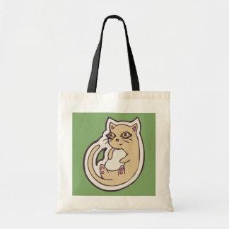 背部かわいく白い腹スケッチのデザインの猫 トートバッグ