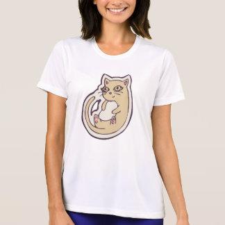 背部かわいく白い腹スケッチのデザインの猫 Tシャツ