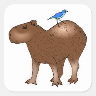 背部の青い鳥を持つ漫画のカピバラ スクエアシール