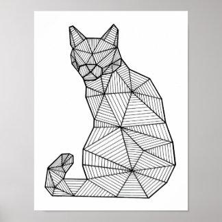 背部幾何学的なつけられていた猫 ポスター
