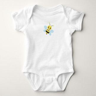 背部文字のベビーのロンパースを持つ幸せな蜂 ベビーボディスーツ