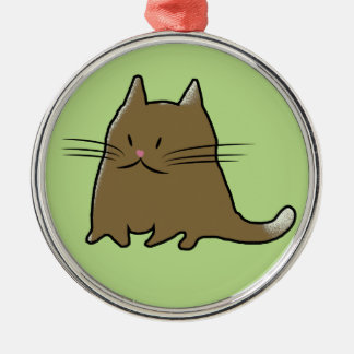 脂肪質のぽっちゃりした子猫猫 メタルオーナメント