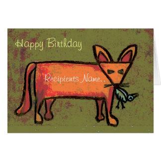 脂肪質のキツネの名前入りなハッピーバースデーの芸術カード グリーティングカード