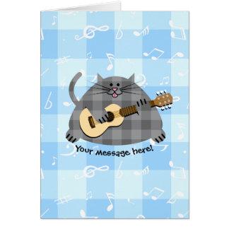 脂肪質のチェック模様の国の子猫猫のアコースティックギター グリーティングカード
