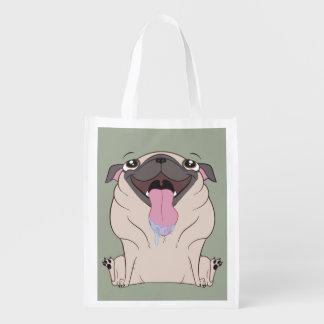脂肪質の漫画のパグ犬の買い物袋のトート エコバッグ