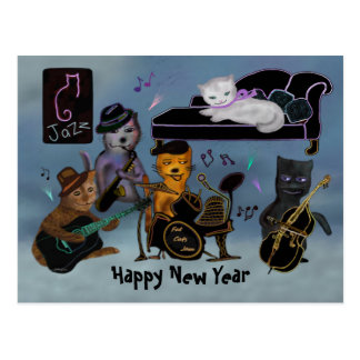 脂肪質猫の新年の込み合い ポストカード