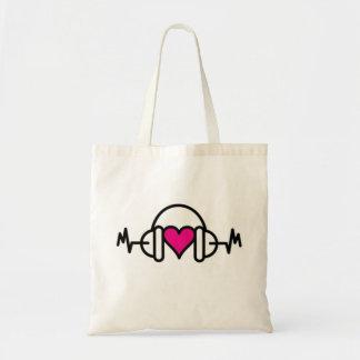 脈拍及びヘッドホーンとの愛|ピンクのハートのビート トートバッグ