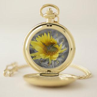 、腕時計、ヒマワリ、夏、休日、ギフト懐に入れて下さい、 ポケットウォッチ