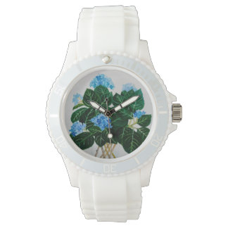 腕時計、白、アジサイの花束 腕時計
