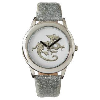 腕時計、銀のグリッターの腕時計のドラゴン 腕時計