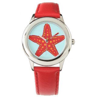 腕時計-青緑のbackgrounの赤いヒトデ 腕時計