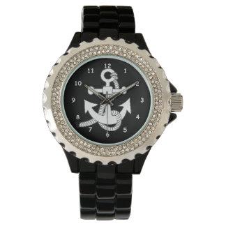 腕時計-黒の白いいかり リストウオッチ