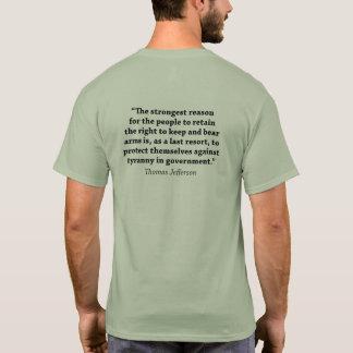 腕-トーマス・ジェファーソンの引用文--に耐えること右 Tシャツ