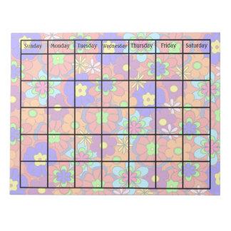 腰回りが大きなレトロのモダンな花のブランクのカレンダー ノートパッド