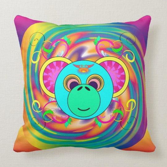 腰回りが大きな猿のカラフルでサイケデリックな虹動物 クッション