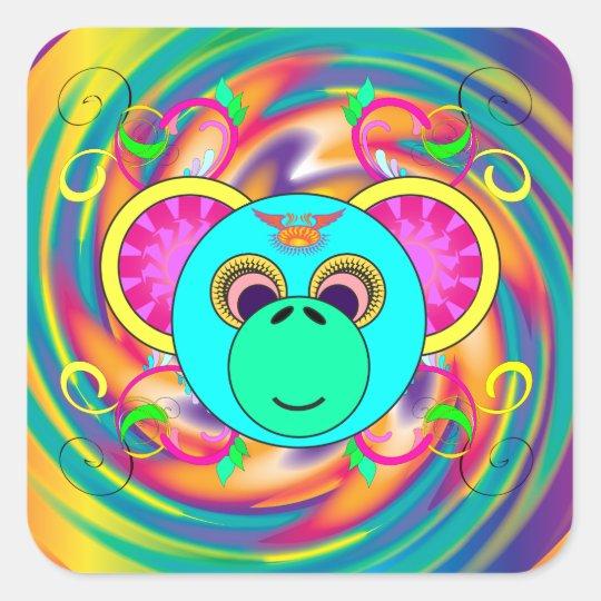腰回りが大きな猿のカラフルでサイケデリックな虹動物 スクエアシール