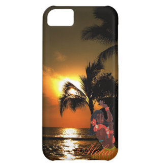 腰蓑のフラ女の子とのヤシの木の海の日没 iPhone5Cケース