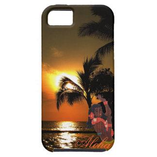 腰蓑のフラ女の子とのヤシの木の海の日没 iPhone SE/5/5s ケース