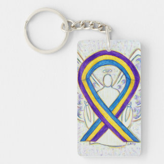 膀胱癌の認識度のリボンの天使のキーホルダー キーホルダー