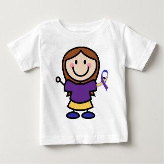 膀胱癌の黄色および紫色のリボンサポート ベビーTシャツ
