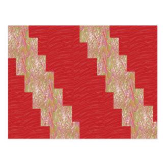 膚触りがよい波nのエレガントで赤い生地のプリント-低価格 ポストカード