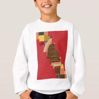 膚触りがよく赤い基盤の任意色パッチの抽象美術 スウェットシャツ