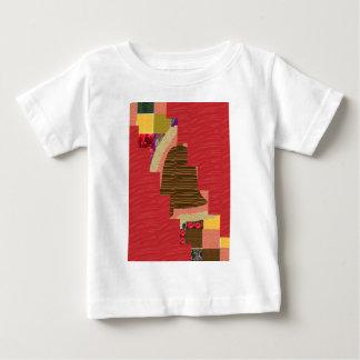 膚触りがよく赤い基盤の任意色パッチの抽象美術 ベビーTシャツ