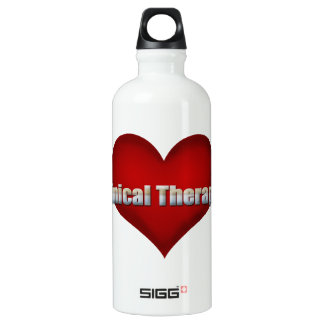 臨床セラピストのクロムフォントおよび赤いハート ウォーターボトル