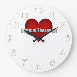 臨床セラピストのクロムフォントおよび赤いハート ラージ壁時計
