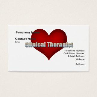 臨床セラピストのクロムフォントおよび赤いハート 名刺