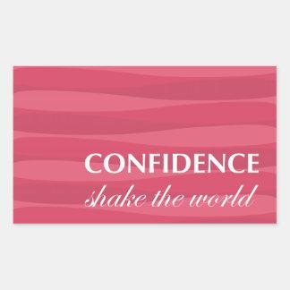 自信のための赤 長方形シール