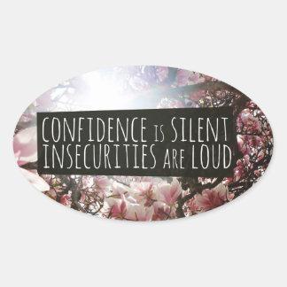 自信は静かな危険騒々しいですです 楕円形シール