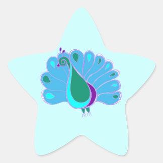 自信満々の孔雀のグラフィック 星シール