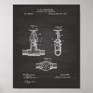 自動火のスプリンクラー1893のパテント-黒板 ポスター