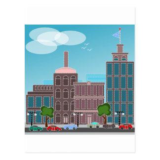 自動車が付いている都市 ポストカード
