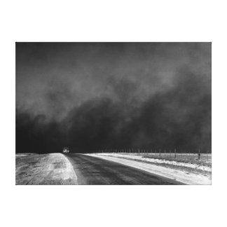 自動車運転黄塵地帯のテキサス州の突出地域 キャンバスプリント