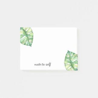 自己の名前入りなポスト・イットへの熱帯葉のノート ポストイット