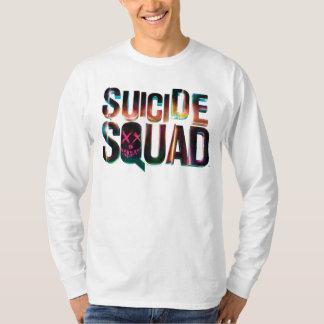 自殺の分隊|のカラフルな白熱ロゴ Tシャツ