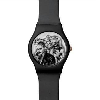 自殺の分隊|のジョーカー及びハーレーのエアブラシの入れ墨 腕時計