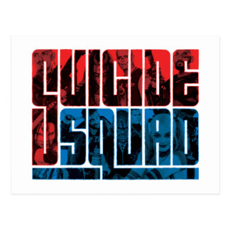 自殺の分隊|の赤くおよび青のロゴ ポストカード