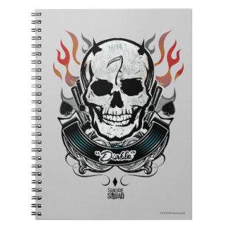 自殺の分隊| Diabloのスカル及び炎の入れ墨の芸術 ノートブック