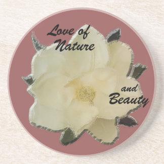 """自然および美しいの石造りのコースターマグノリア""""愛"""" コースター"""