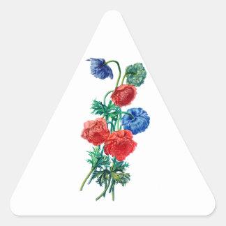 自然から描かれるケシのアネモネ 三角形シール