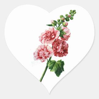 自然から描かれるピンクのHollyhock ハートシール