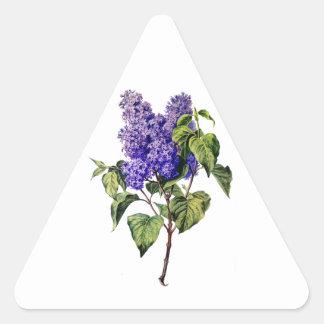 自然から描かれる紫色のラベンダー 三角形シール